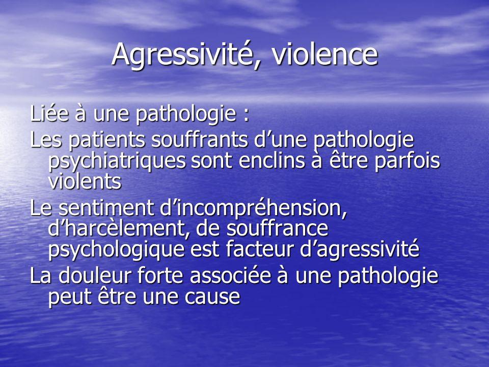 Agressivité, violence Liée à une pathologie :