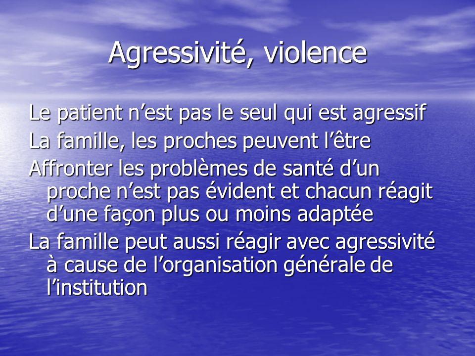 Agressivité, violence Le patient n'est pas le seul qui est agressif