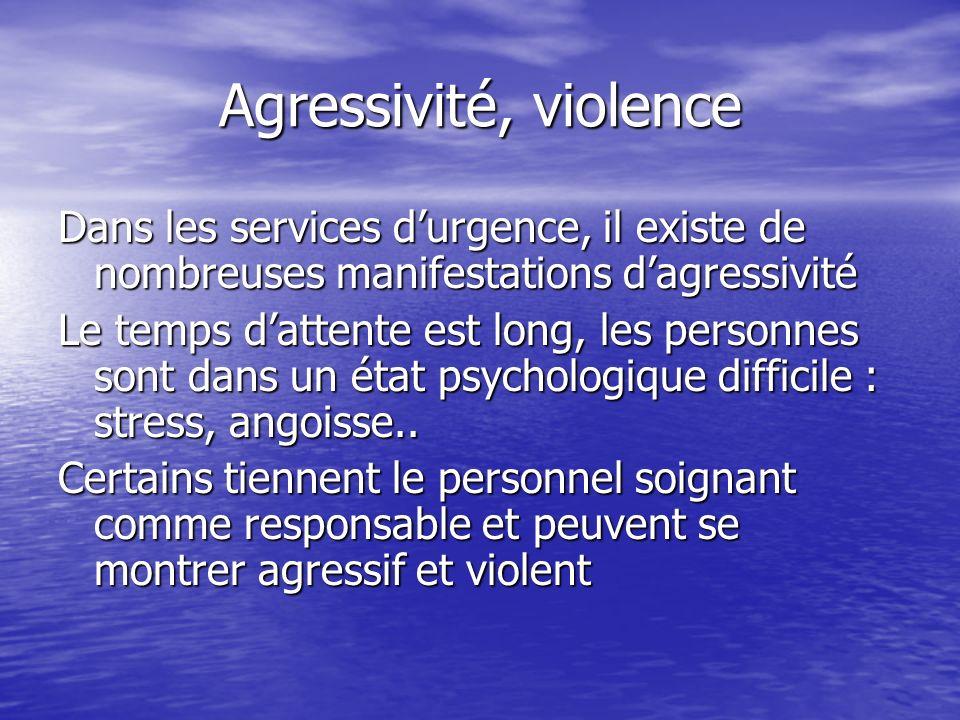Agressivité, violence Dans les services d'urgence, il existe de nombreuses manifestations d'agressivité.