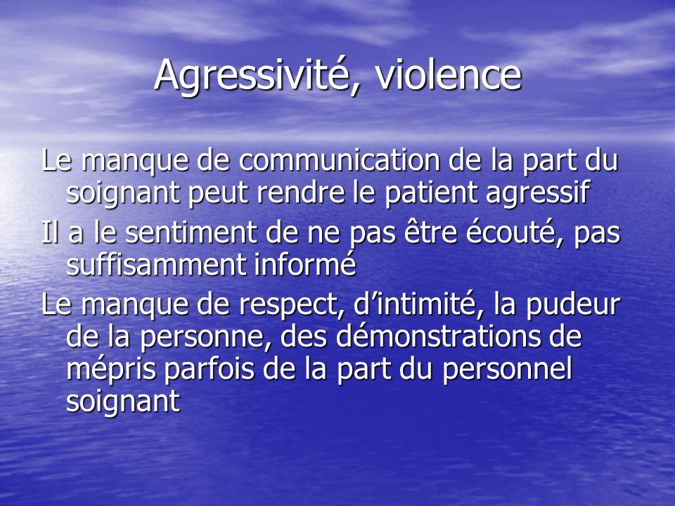 Agressivité, violence Le manque de communication de la part du soignant peut rendre le patient agressif.