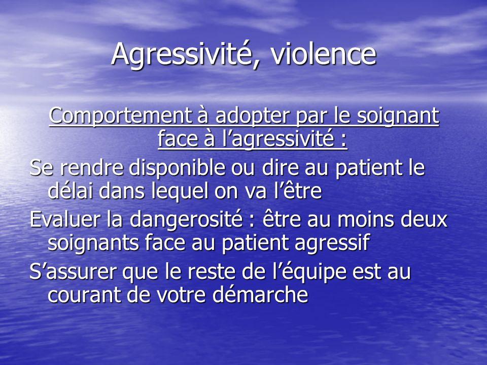 Comportement à adopter par le soignant face à l'agressivité :