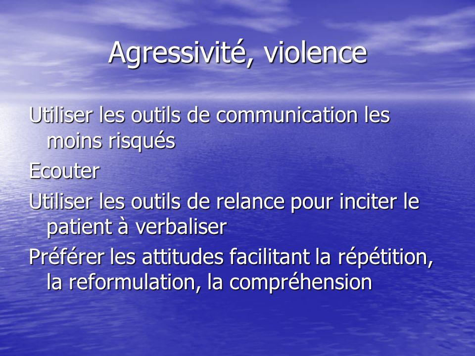 Agressivité, violence Utiliser les outils de communication les moins risqués. Ecouter.