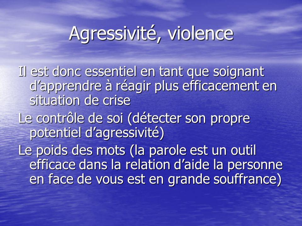 Agressivité, violence Il est donc essentiel en tant que soignant d'apprendre à réagir plus efficacement en situation de crise.