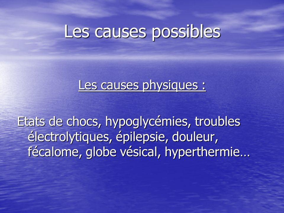 Les causes possibles Les causes physiques :