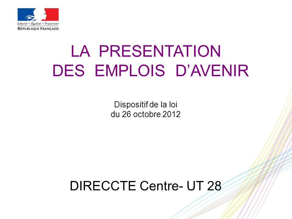 LA PRESENTATION DES EMPLOIS D'AVENIR Dispositif de la loi du 26 octobre 2012