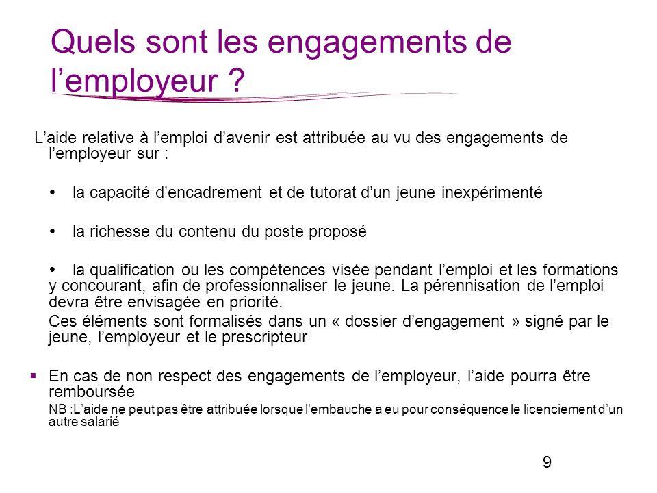 Quels sont les engagements de l'employeur