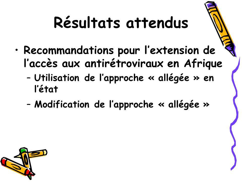 Résultats attendus Recommandations pour l'extension de l'accès aux antirétroviraux en Afrique. Utilisation de l'approche « allégée » en l'état.