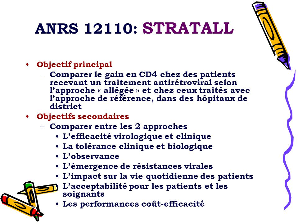 ANRS 12110: STRATALL Objectif principal