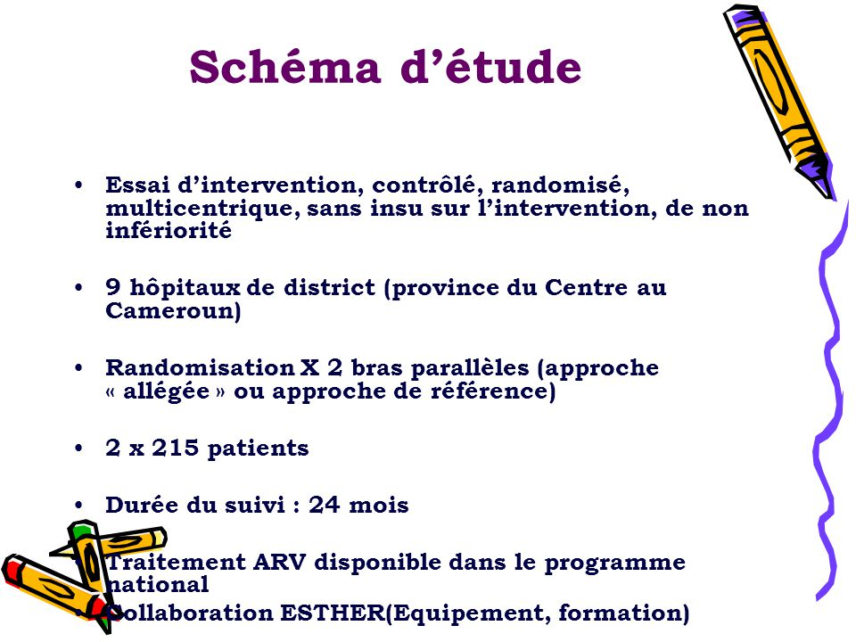 Schéma d'étude Essai d'intervention, contrôlé, randomisé, multicentrique, sans insu sur l'intervention, de non infériorité.