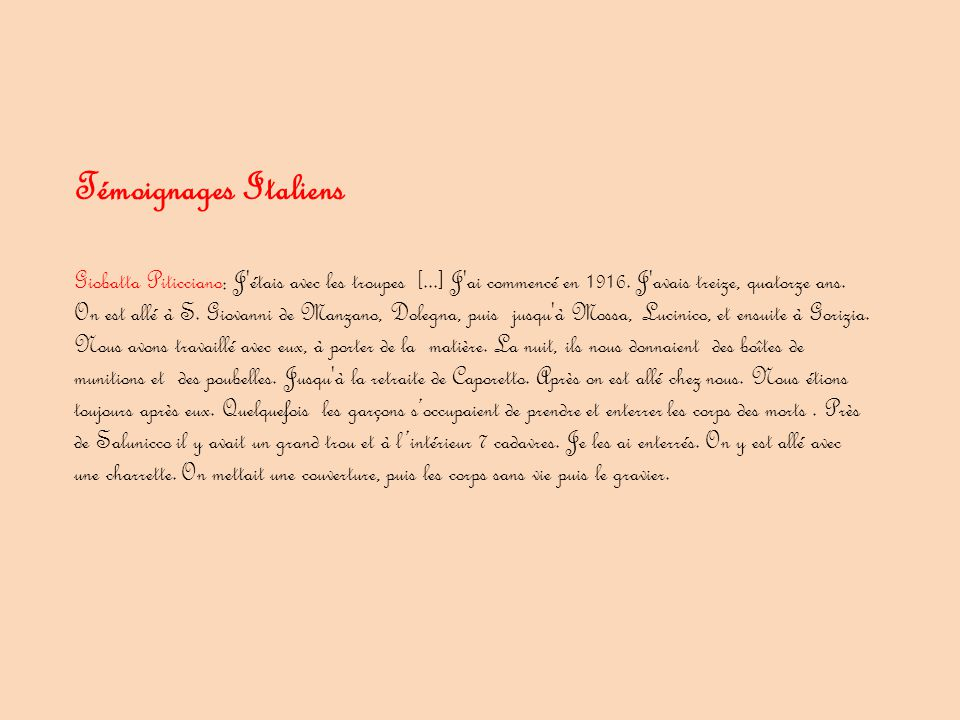 Témoignages Italiens