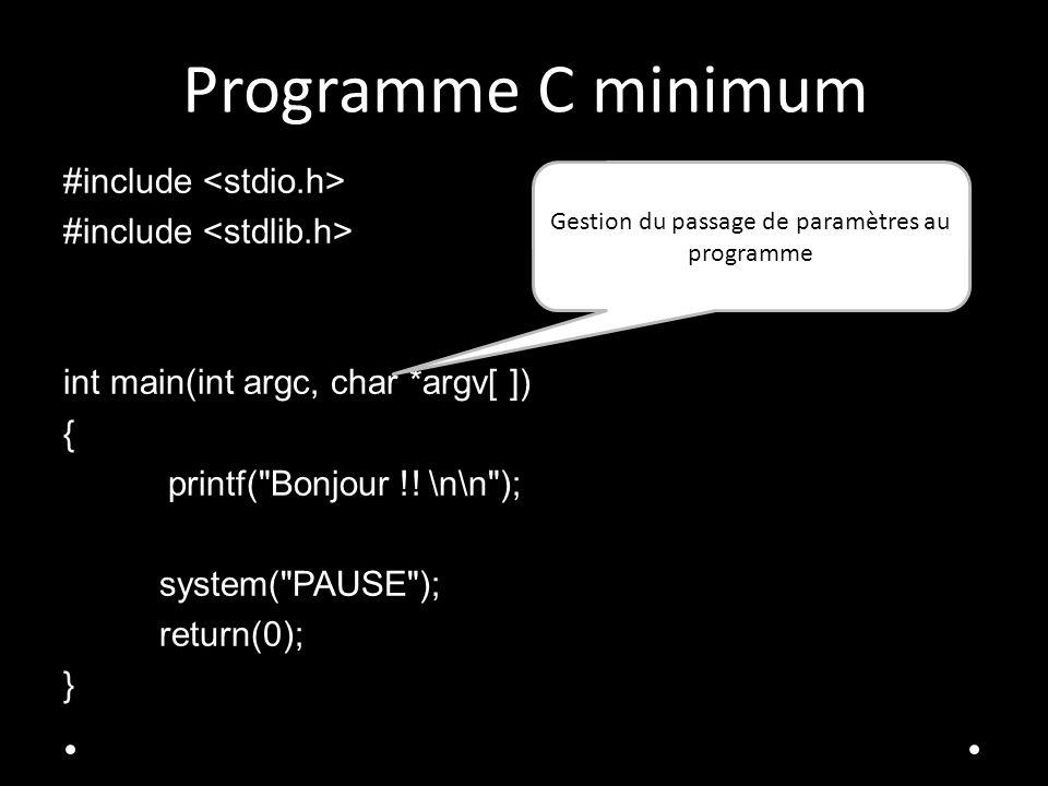 Gestion du passage de paramètres au programme