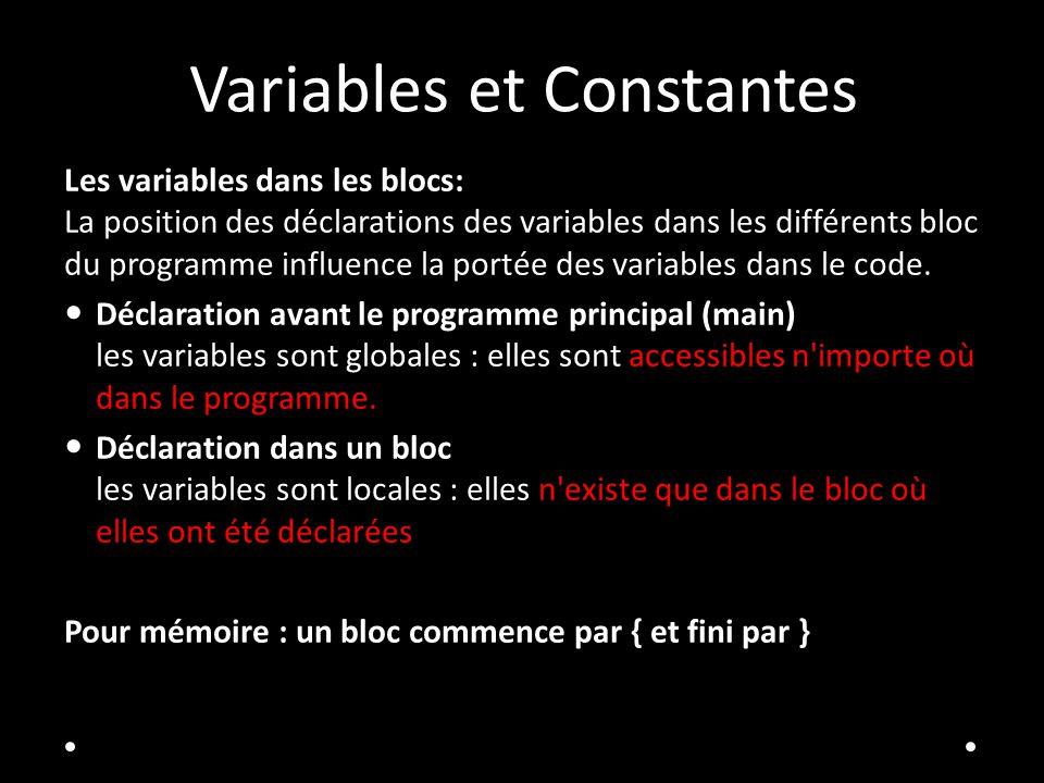 Variables et Constantes