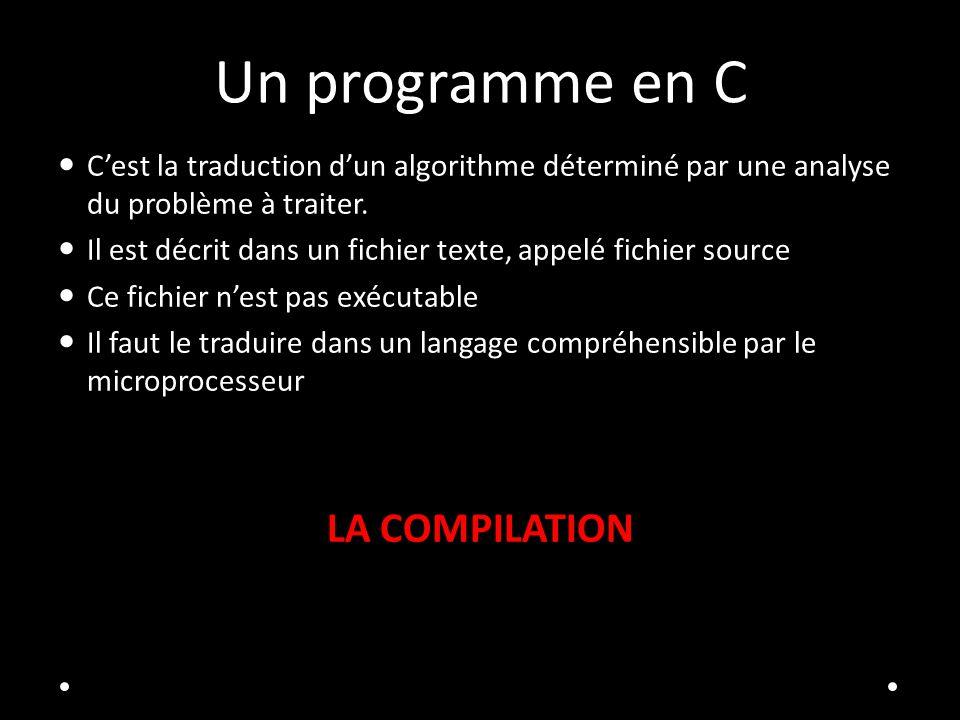 Un programme en C LA COMPILATION