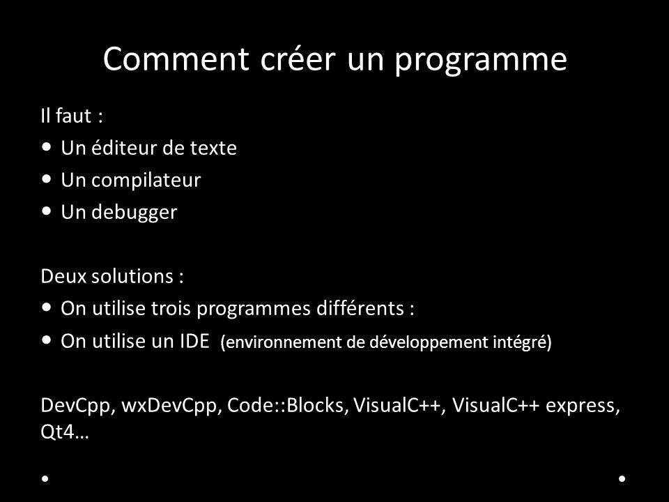 Comment créer un programme