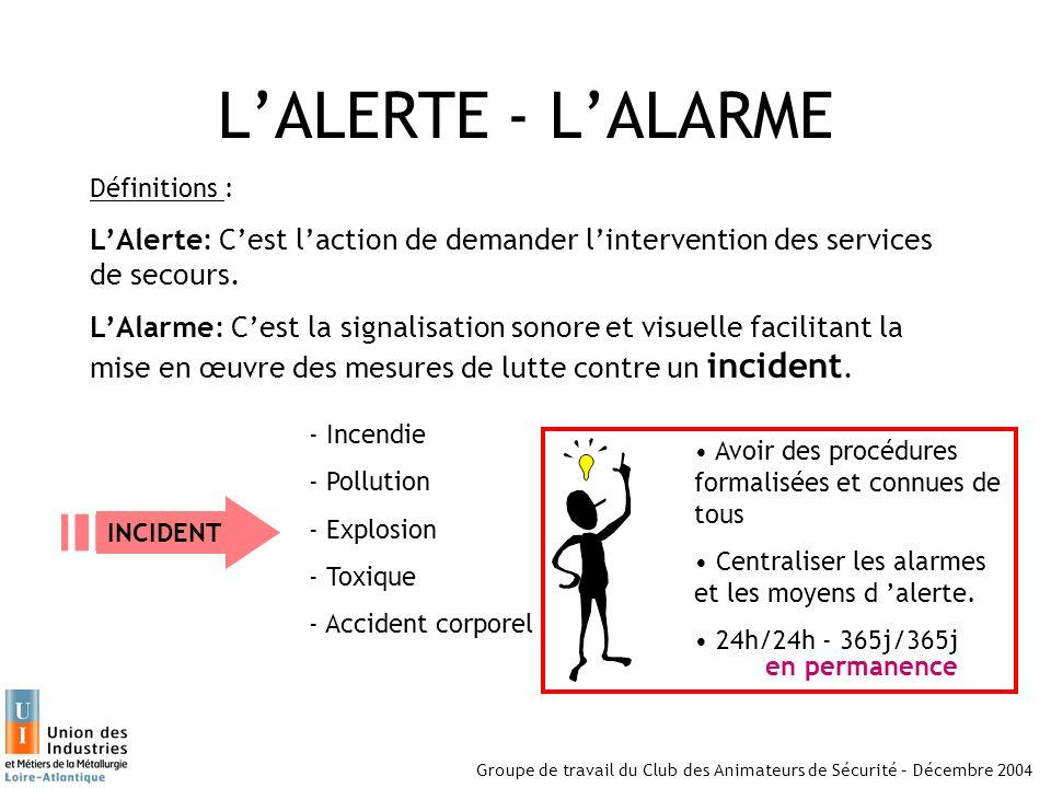 L'ALERTE - L'ALARME Définitions : L'Alerte: C'est l'action de demander l'intervention des services de secours.