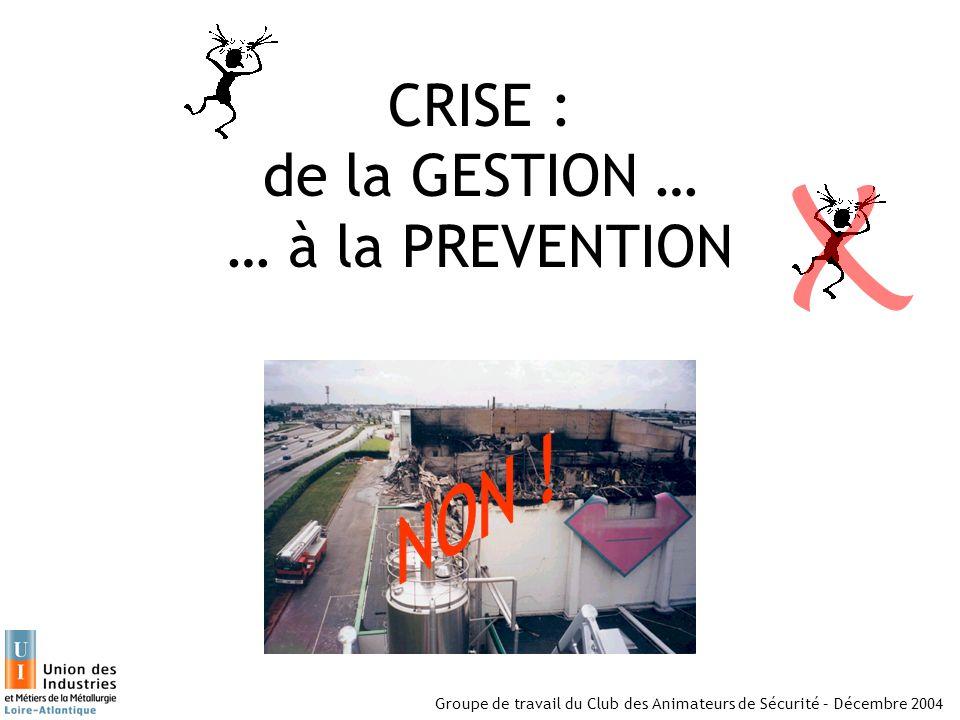 CRISE : de la GESTION … … à la PREVENTION