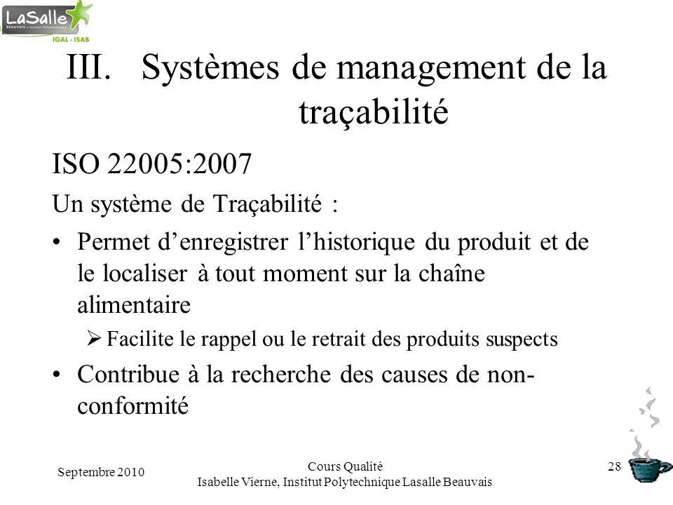 Systèmes de management de la traçabilité