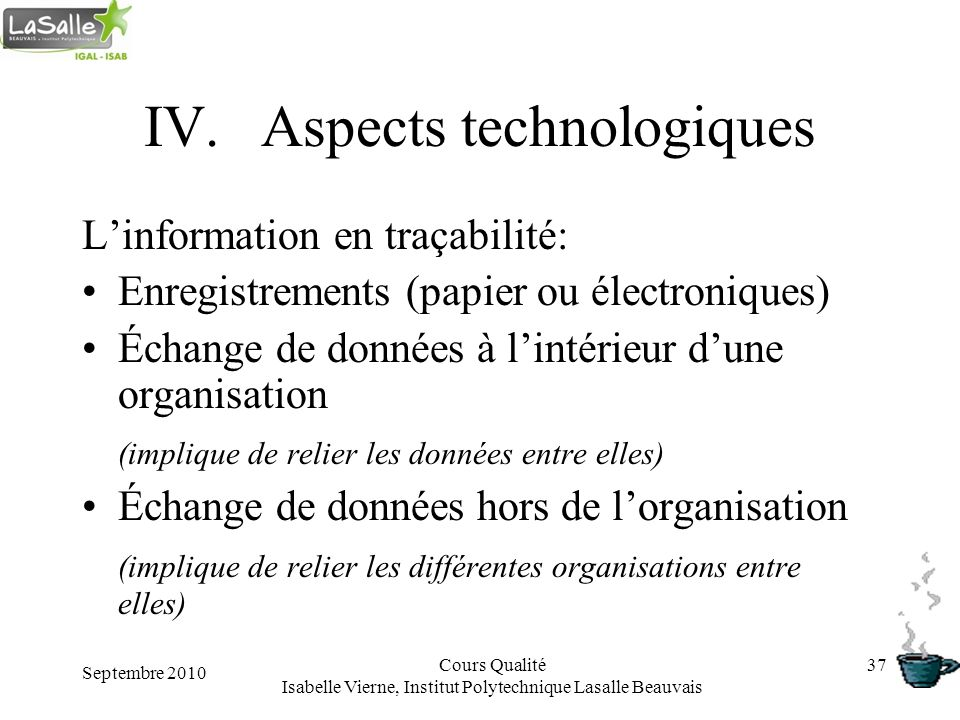 Aspects technologiques