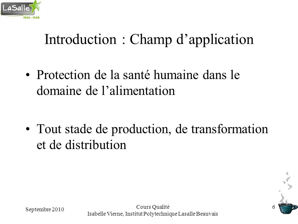 Introduction : Champ d'application