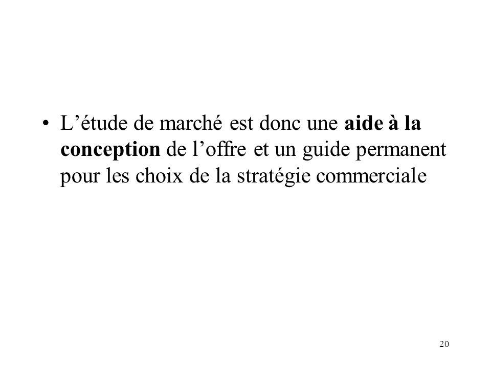 L'étude de marché est donc une aide à la conception de l'offre et un guide permanent pour les choix de la stratégie commerciale