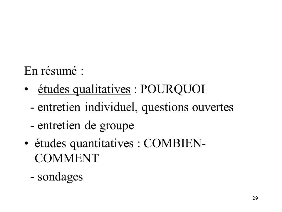 En résumé : études qualitatives : POURQUOI. - entretien individuel, questions ouvertes. - entretien de groupe.