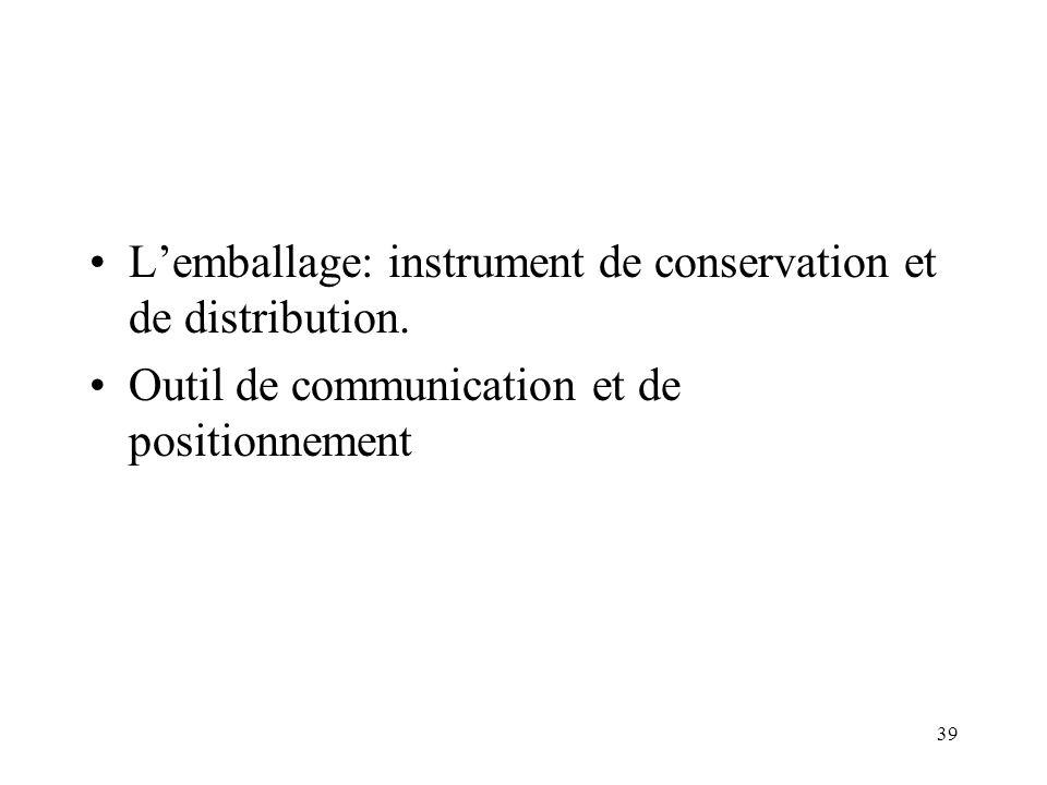 L'emballage: instrument de conservation et de distribution.