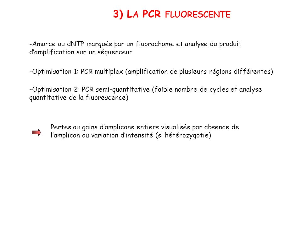 3) La PCR fluorescente -Amorce ou dNTP marqués par un fluorochome et analyse du produit d'amplification sur un séquenceur.