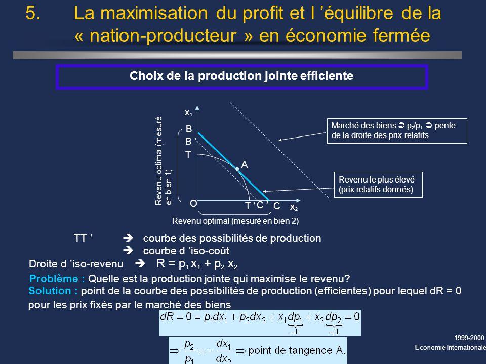 Choix de la production jointe efficiente
