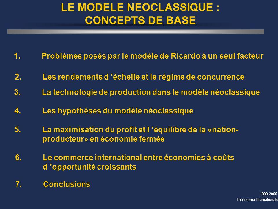 LE MODELE NEOCLASSIQUE : CONCEPTS DE BASE