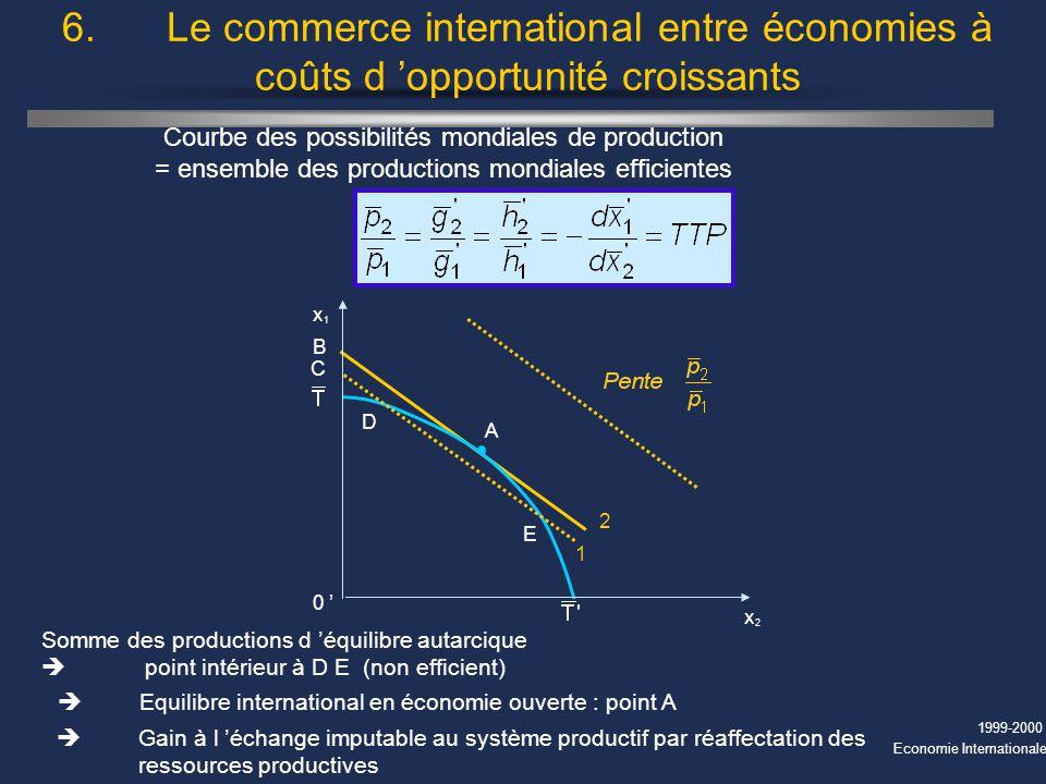 6. Le commerce international entre économies à coûts d 'opportunité croissants