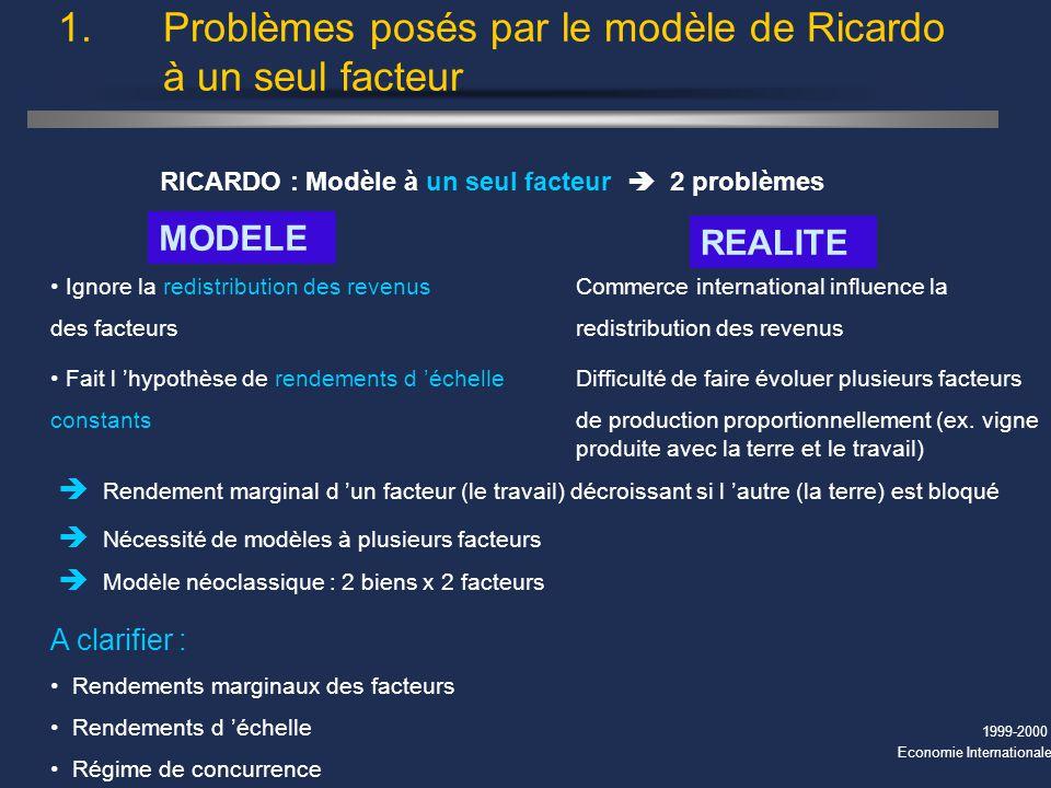 1. Problèmes posés par le modèle de Ricardo à un seul facteur