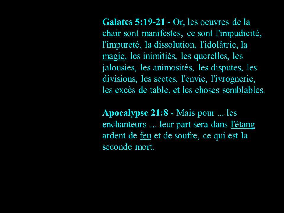 Galates 5:19-21 - Or, les oeuvres de la chair sont manifestes, ce sont l impudicité, l impureté, la dissolution, l idolâtrie, la magie, les inimitiés, les querelles, les jalousies, les animosités, les disputes, les divisions, les sectes, l envie, l ivrognerie, les excès de table, et les choses semblables.