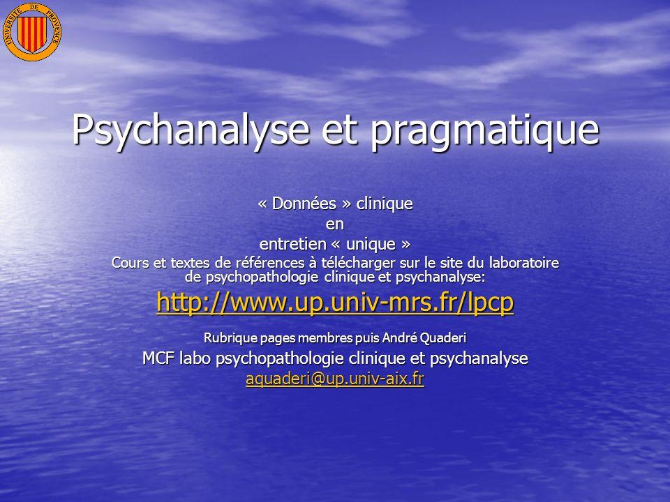 Psychanalyse et pragmatique