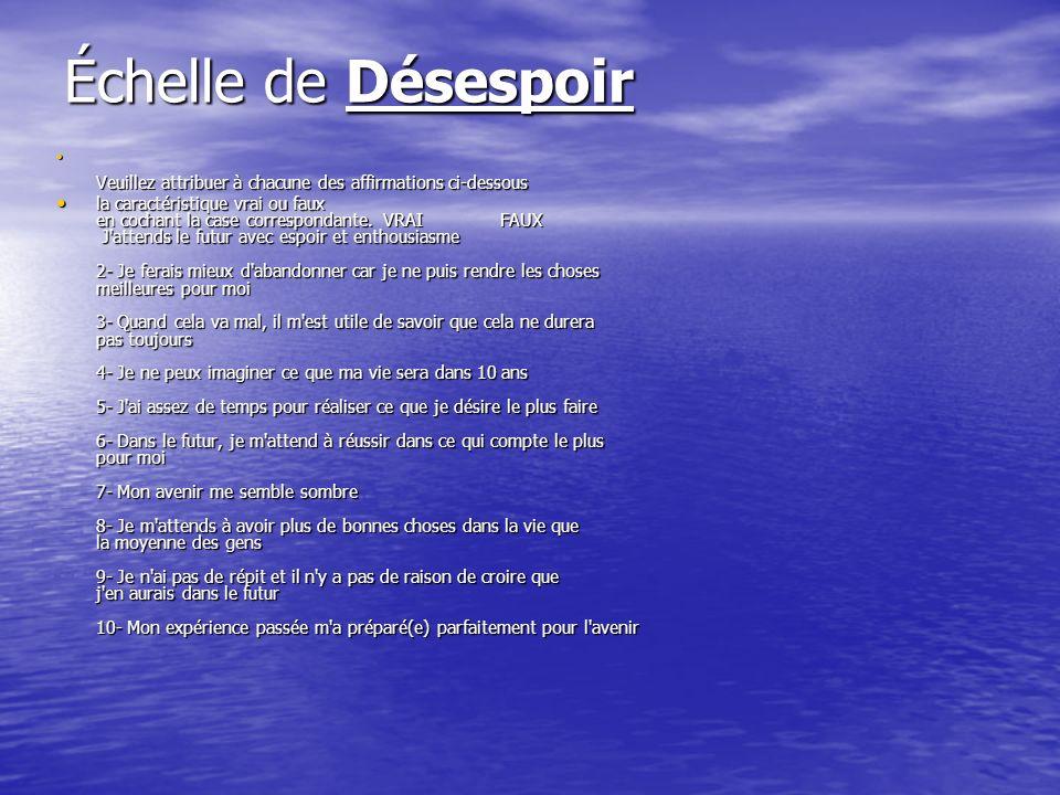 Échelle de DésespoirVeuillez attribuer à chacune des affirmations ci-dessous.