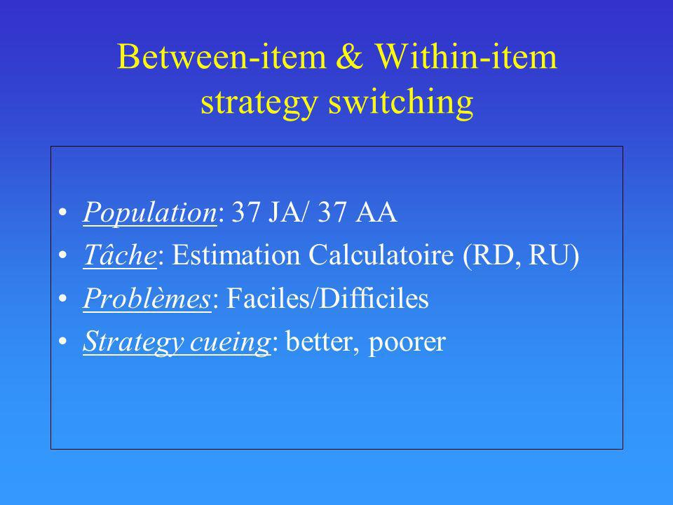Between-item & Within-item strategy switching