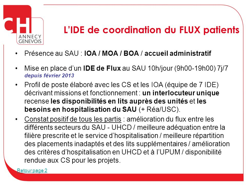 L'IDE de coordination du FLUX patients