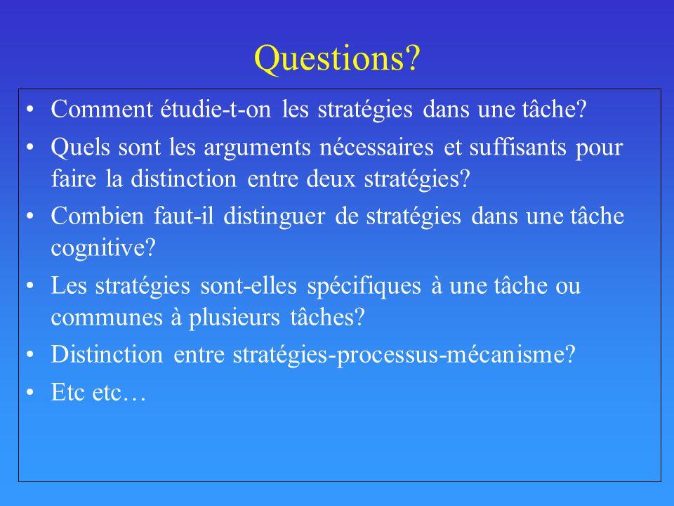 Questions Comment étudie-t-on les stratégies dans une tâche