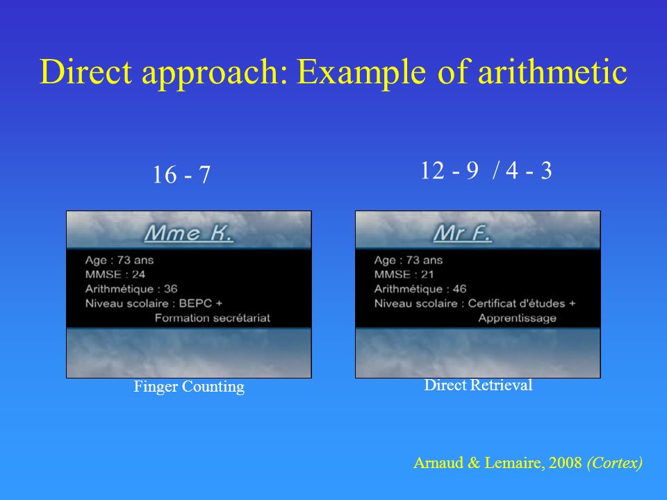 Direct approach: Example of arithmetic