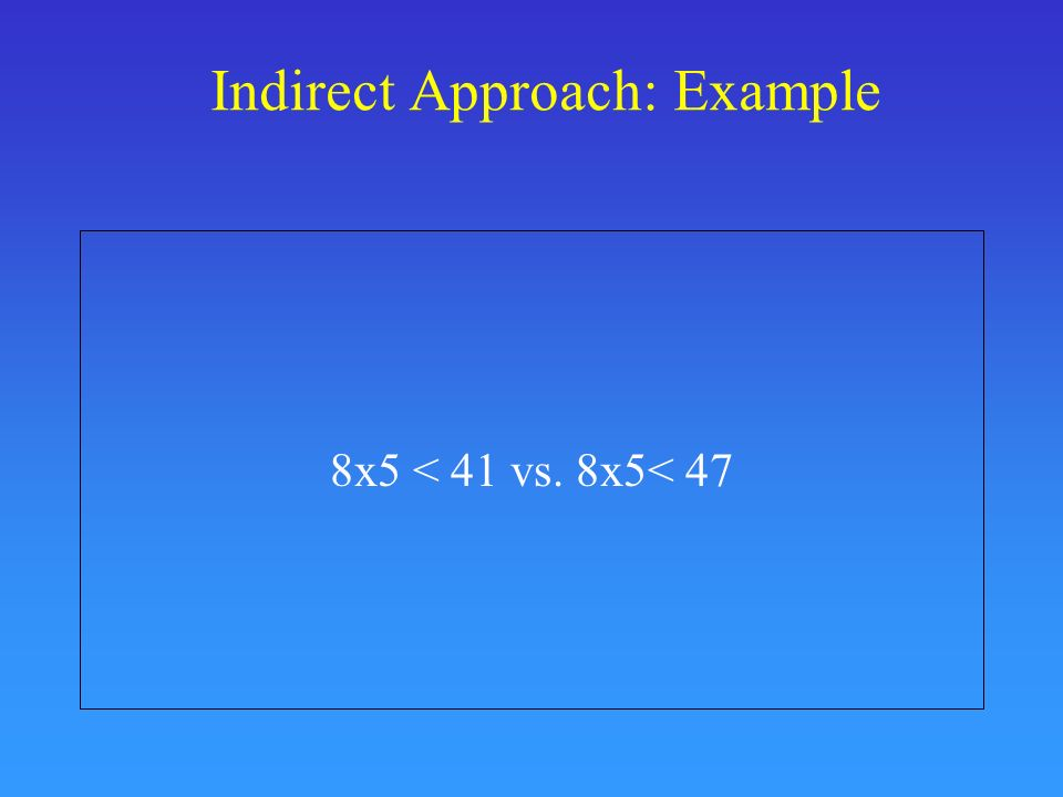 Indirect Approach: Example