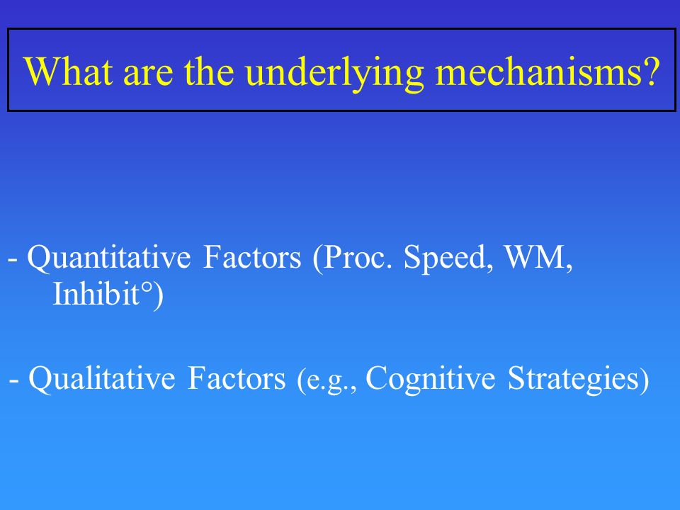 What are the underlying mechanisms