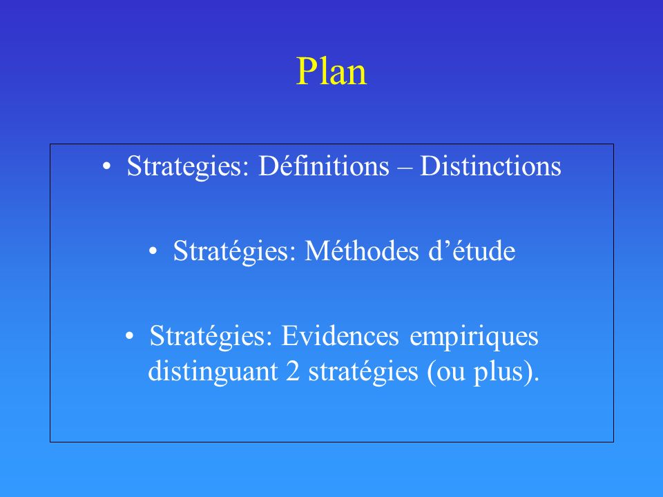 Plan Strategies: Définitions – Distinctions