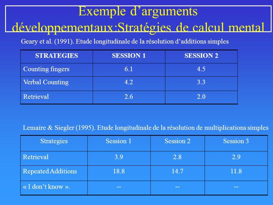 Exemple d'arguments développementaux:Stratégies de calcul mental