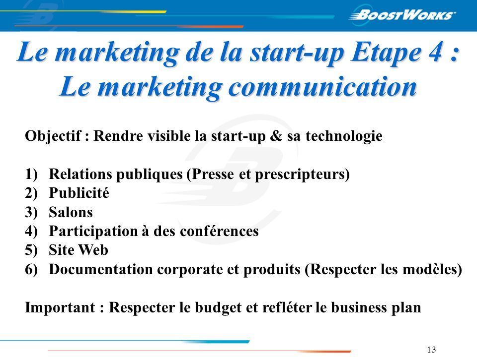 Le marketing de la start-up Etape 4 : Le marketing communication