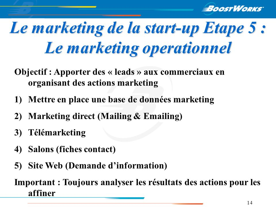 Le marketing de la start-up Etape 5 : Le marketing operationnel