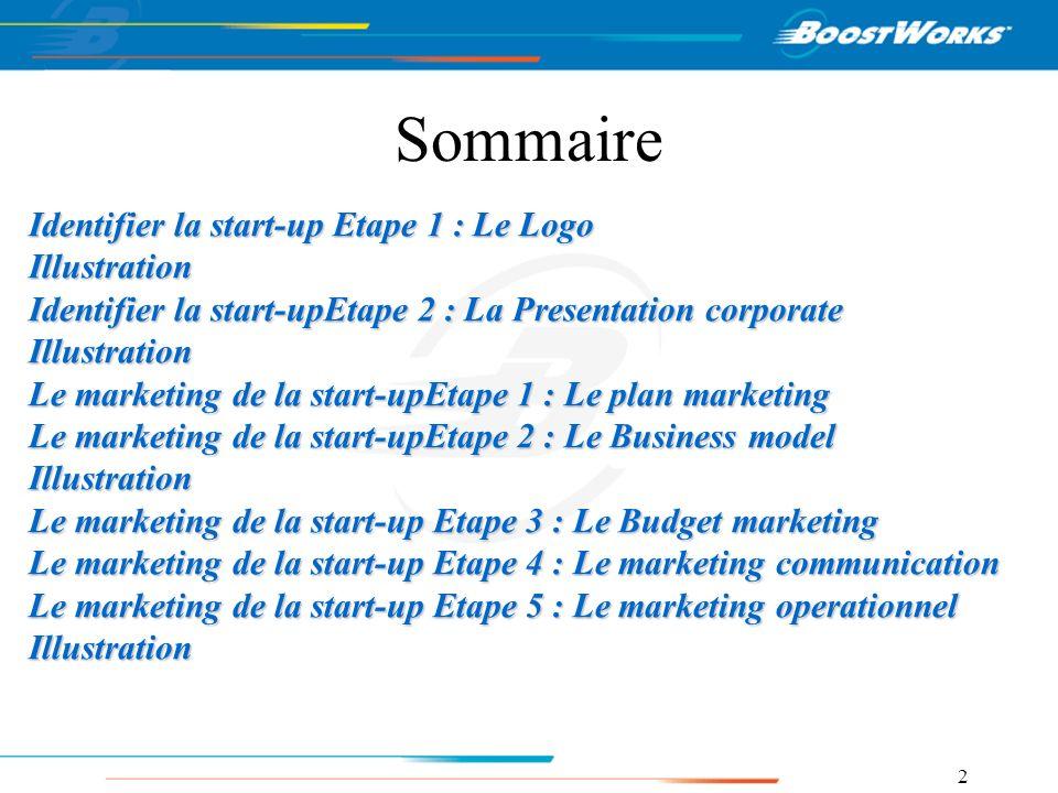 Sommaire Identifier la start-up Etape 1 : Le Logo Illustration