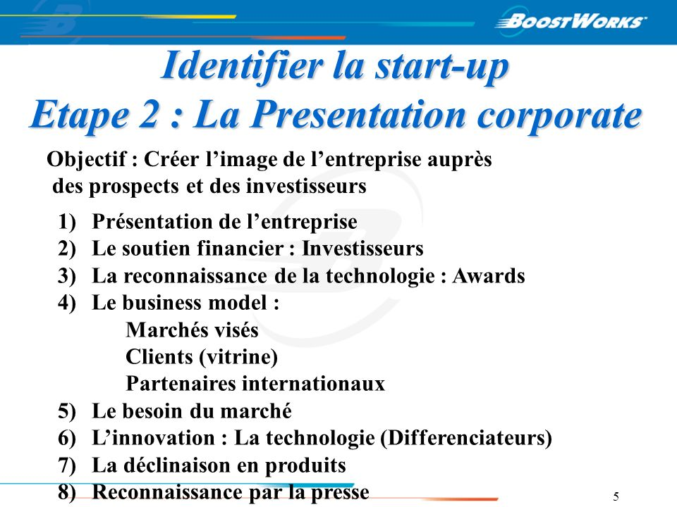 Identifier la start-up Etape 2 : La Presentation corporate