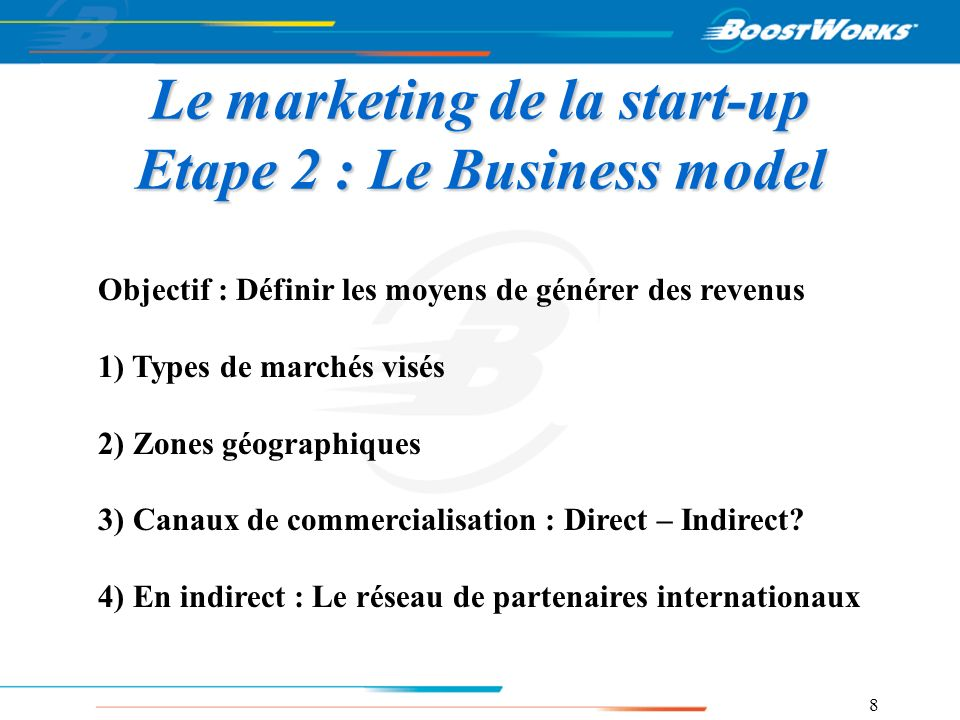 Le marketing de la start-up Etape 2 : Le Business model