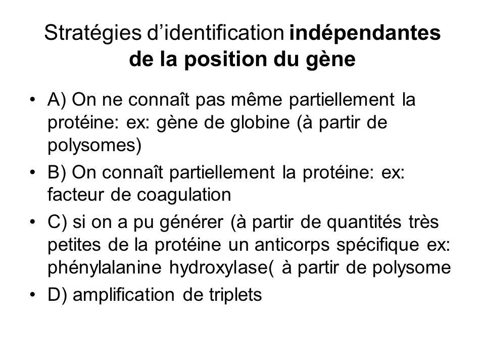 Stratégies d'identification indépendantes de la position du gène