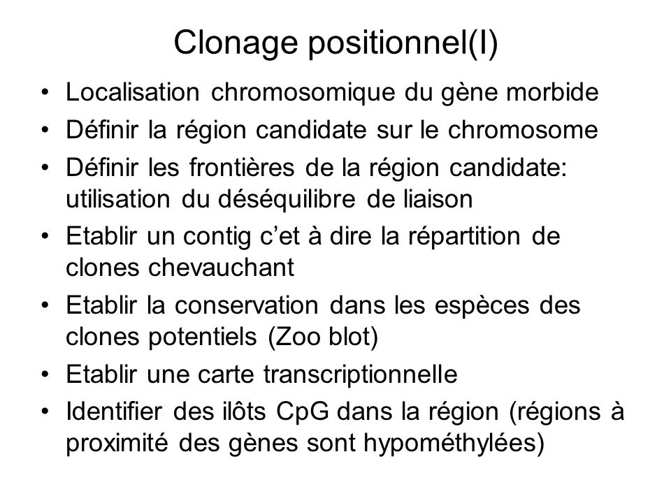 Clonage positionnel(I)