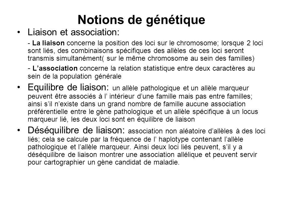 Notions de génétique Liaison et association: